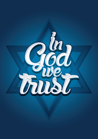in god we trust: Israel in God we trust on blue background Vector.