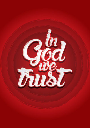 word of god: In God we trust on red background Vector. Illustration