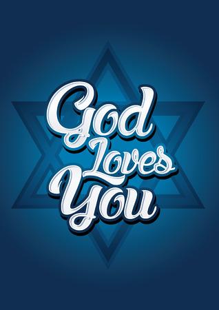 Israel God loves you on blue background Vector. Illustration