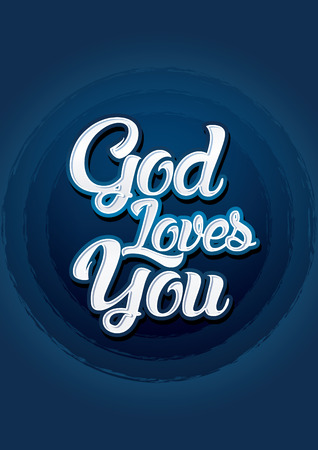 loves: God loves you on blue background Vector. Illustration