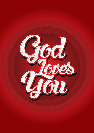 loves: God loves you on red background Vector.