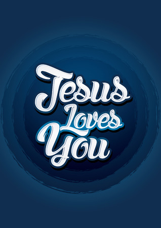 jesus word: Jesus loves you on blue background Vector.