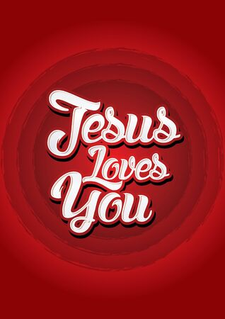 jesus word: Jesus loves you on red background Vector. Illustration