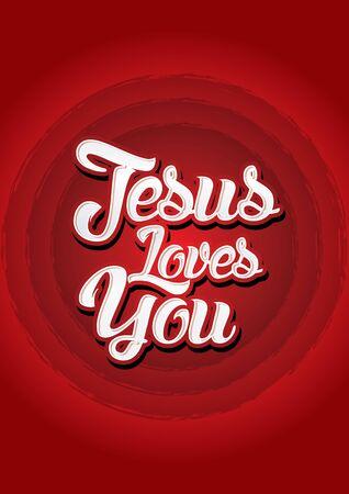 jezus: Jezus cię kocha na czerwonym tle Vector. Ilustracja