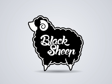 sheep sign: Black sheep with text sign symbol icon graphic vector.