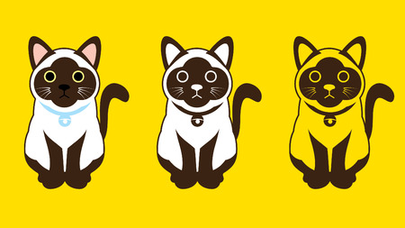 Siamese cat Thai cat sign symbol icon graphic vector.