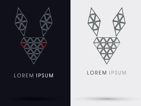 Black rabbit abstract sign  symbol icon graphic vector. Vector