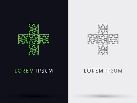 green cross: Medical green cross abstract  symbol icongraphicvector. Illustration