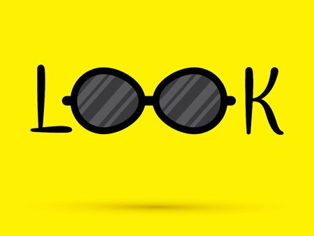 Look eyes glasses Text graphic vector.