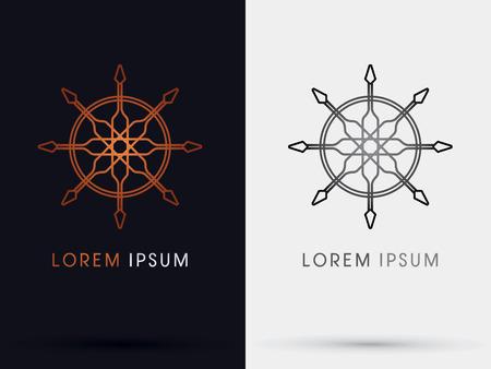 roer: Helm schip symbool Stock Illustratie