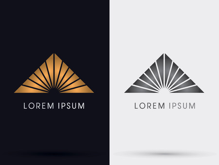 abstract logos: Gold Pyramid Triangle abstract icon symbol vector. Illustration