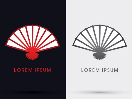 chinese fan: Red Chinese fan icon symbol Vector.