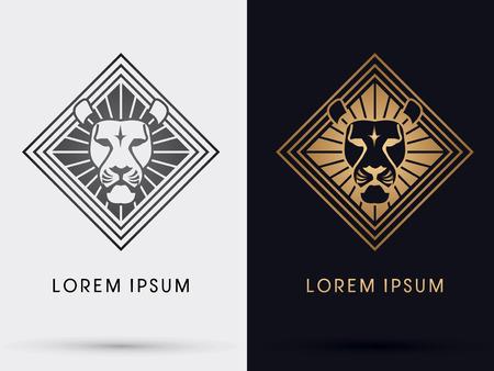 power logo: Lion head icon symbol Vector.