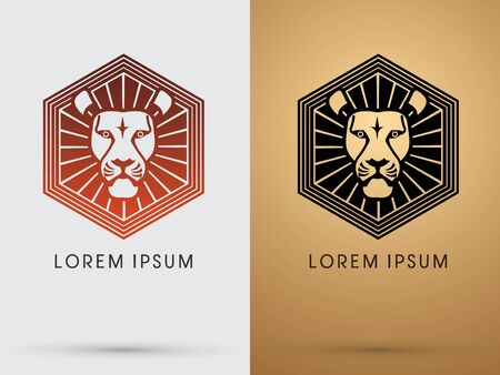 head silhouette: RED and Black Lion head icon symbol vector. On gold background Illustration