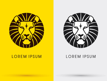 Lion head icon symbol Vector. On yellow background Ilustracja