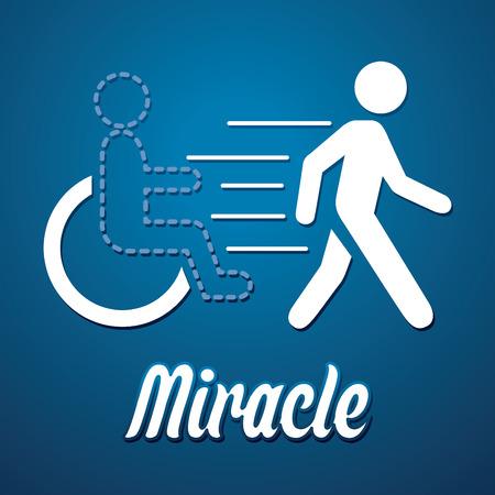 miracle: Miracle walk man symbol graphic vector.