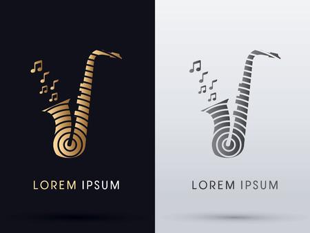 saxophone: Saxophone music symbol vector.