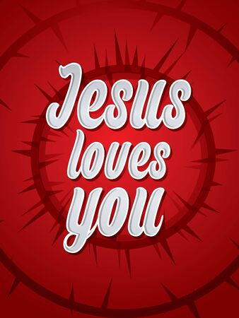 loves: Jesus loves you text graphic Vector