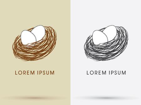 huevo blanco: Jerarquía del pájaro y huevos símbolo del icono del vector.