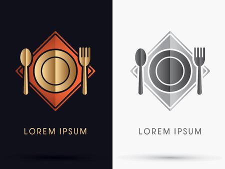 modern restaurant: Restaurant  spoon and fork icon symbol Vector.