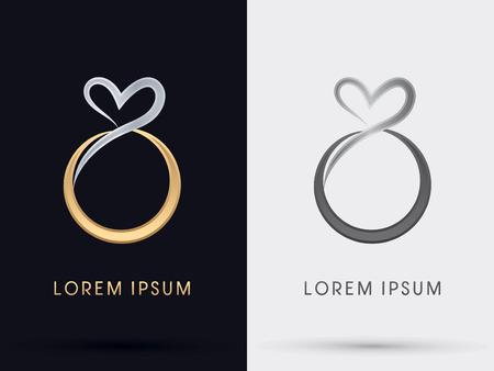heart diamond: Heart Diamond Ring abstract icon graphic symbol vector.