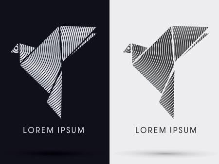 Gołąb Gołąb papieru origami wektor ikona symbol graficzny.
