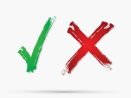 Vinkje X Nee pictogram grafische symbool Vector.