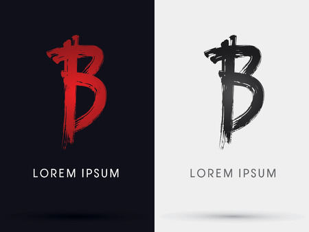 B grungy font brush symbol icon graphic vector . Ilustração