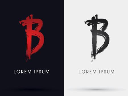 letter b: B grungy font brush symbol icon graphic vector . Illustration