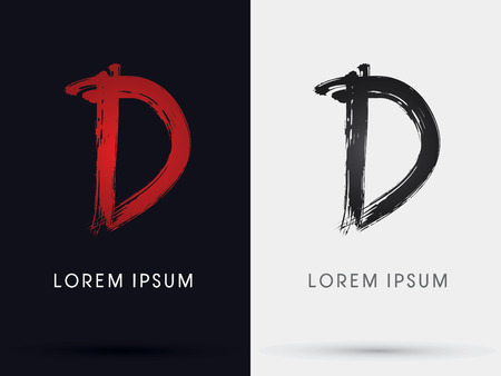 d: D grungy font brush symbol icon graphic vector .