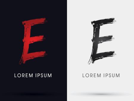 e ink: E grungy font brush symbol icon graphic vector .
