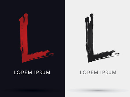 L grungy font brush symbol icon graphic vector . Illustration