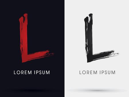 letter l: L grungy font brush symbol icon graphic vector . Illustration