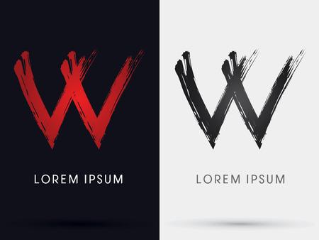 W grungy fontcross brush symbol icon graphic vector .