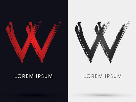 letter w: W grungy fontcross brush symbol icon graphic vector .