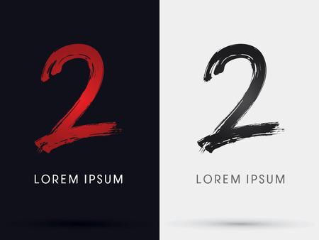 dva: 2 Číslo dvě výstřední písmo kartáč symbolů ikonu kreslený vektoru.