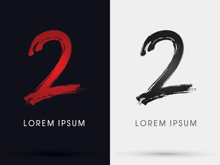 2  Number two grungy font brush symbol icon graphic vector . Çizim