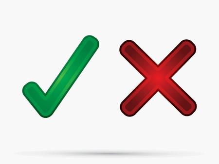 no pase: Marca de verificación X Si No icónico símbolo del vector. Vectores