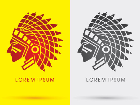American Indian chief  head face side  symbol icon graphic vector .  イラスト・ベクター素材