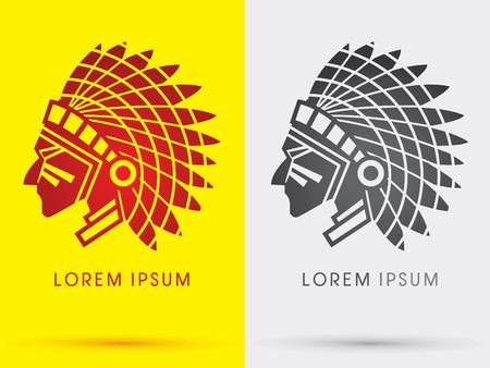 American Indian chief  head face side  symbol icon graphic vector . Vectores