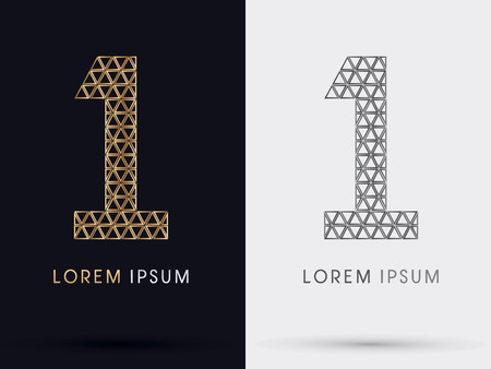 1 Numberfont from Gold triangle symbol icon graphic vector Illustration