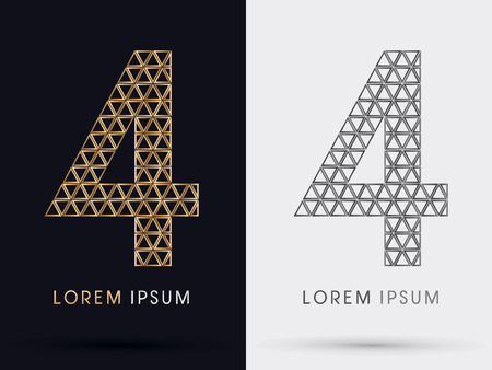 4 Numberfont from Gold triangle symbol icon graphic vector Vector