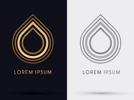 Gold Lotusdrop water symbol icon graphic vector. Vector