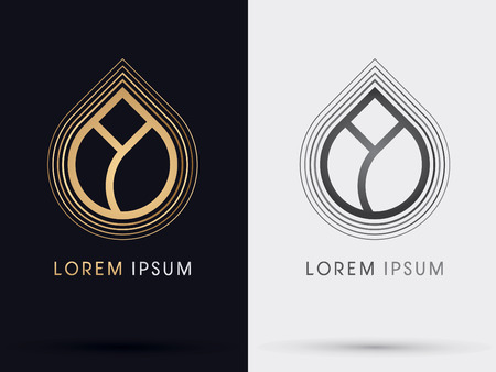 blight: Gold Lotus symbol icon graphic vector.
