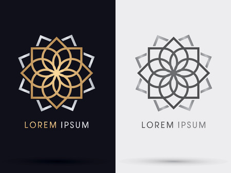 Gold abstract lotus symbol icon graphic vector.