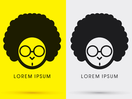 afro hair: Afro head with glasses  symbol icon graphic vector .