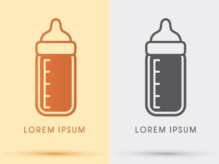 milk bottle: Baby milk bottle  symbol icon graphic vector .
