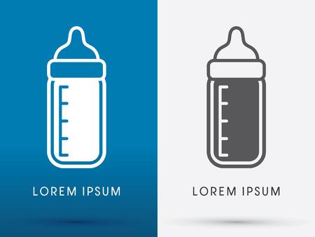 plastic bottle: Bebé símbolo de la botella de leche icono gráfico vectorial.