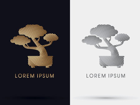 bonsai: Gold Bonsai tree abstract symbol icon graphic vector .