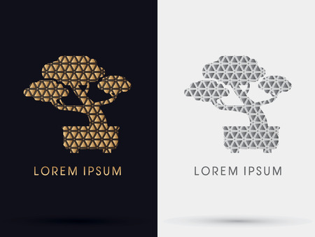 bonsai tree: Gold Triangle Bonsai tree abstract symbol icon graphic vector .